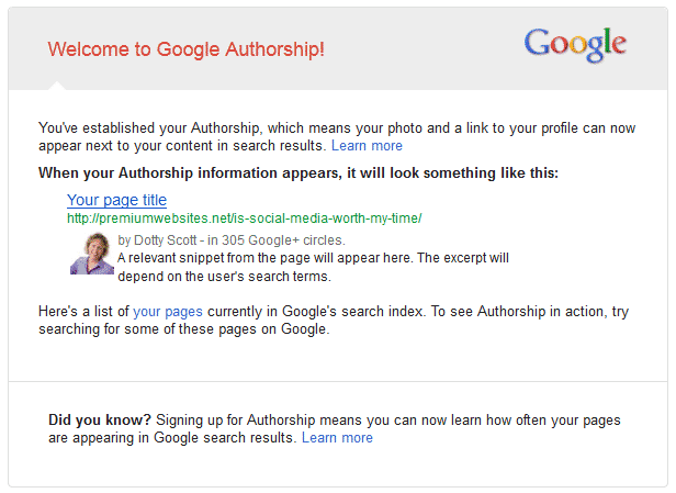 Google Authorship for Dotty Scott