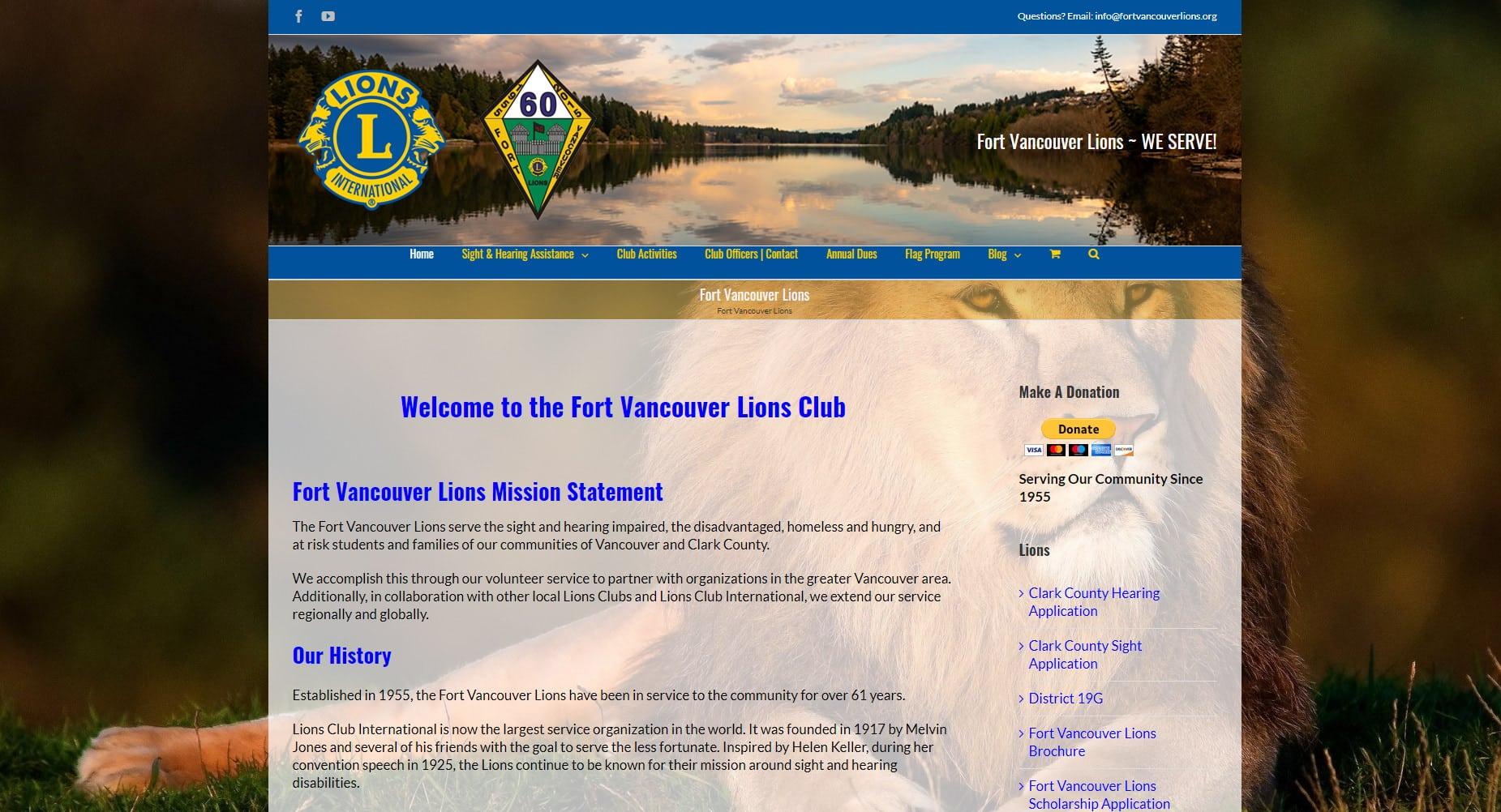 Fort Vancouver Lions Non Profit Website