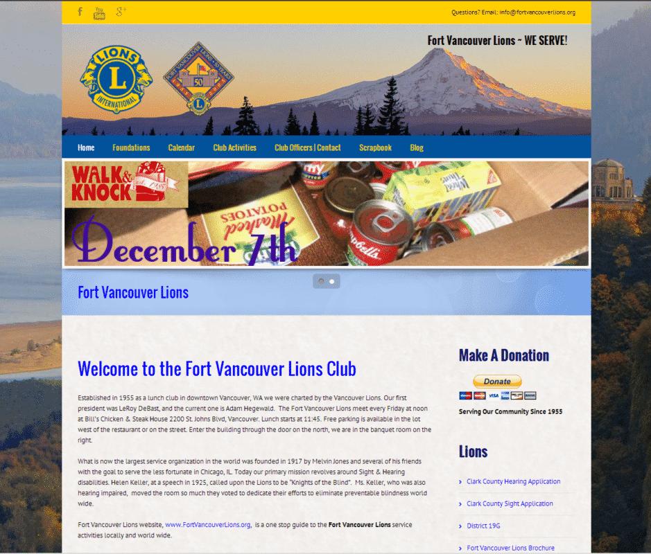 Fort Vancouver Lions Website