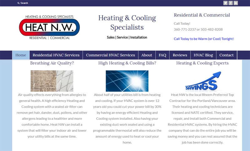 HVAC Website Review