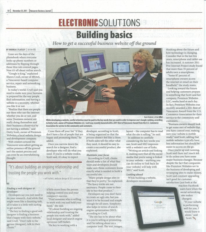 Vancouver Business Journal article on Premium Websites