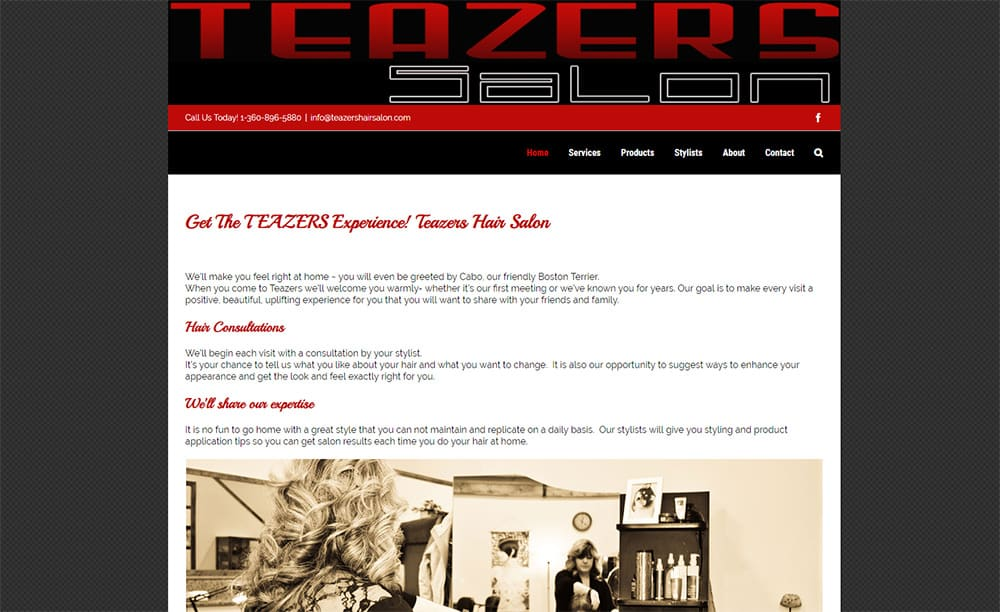 Teazers Hair Salon Website