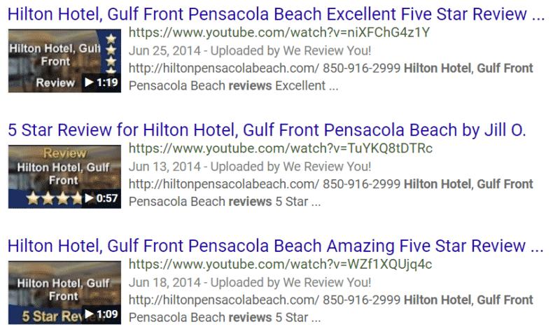 Hilton_Hotel_Gulf_Front_Google _SERP_3_Video_Reviews