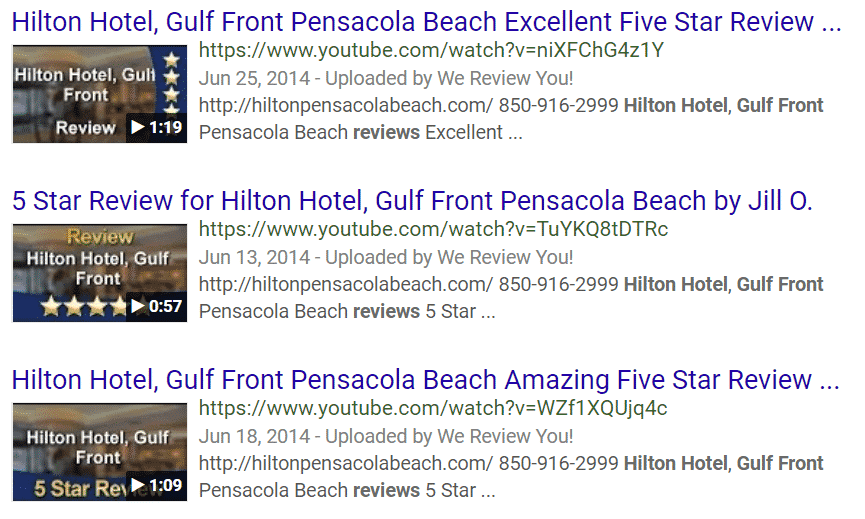 Hilton_Hotel_Gulf_Front_Google _SERP_3_Video_Reviews