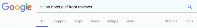 Hilton_hotel_gulf_front_Google_SERP_reviews