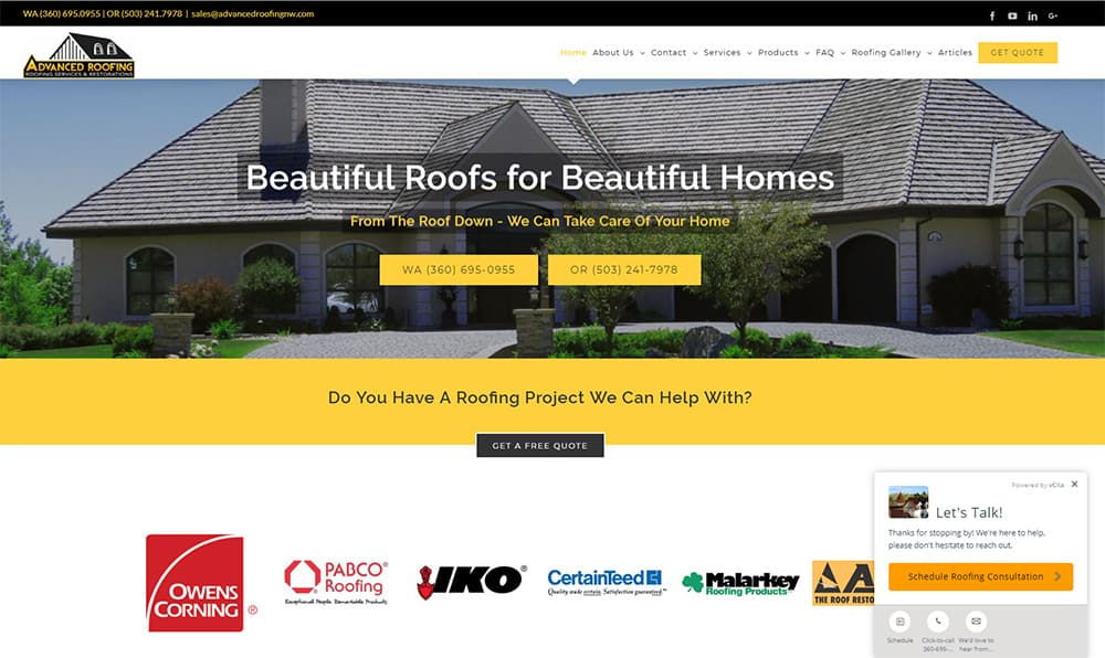 Advanced Roofing Service Industry Websites